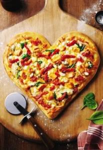 Hartvormige pizza
