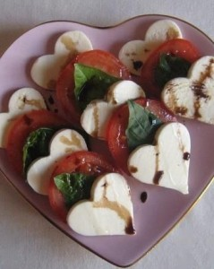 Valentijn caprese salade